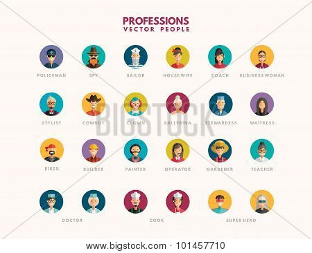 Flat Design Professional People Avatar Icon Set
