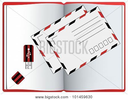 Envelope. Notebook. Usb Flash Drive Icon. Vectors Isolated
