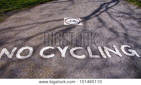 No Cycling Sign On Road.