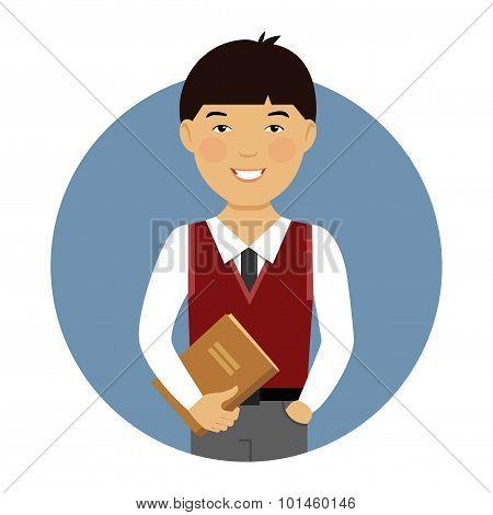 Schoolboy with book