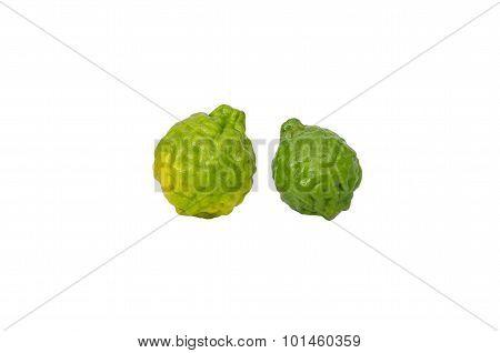 Isolated Shot Of Two Bergamot On White Background