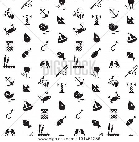 Isolated Marine And Fishing Seamless Pattern