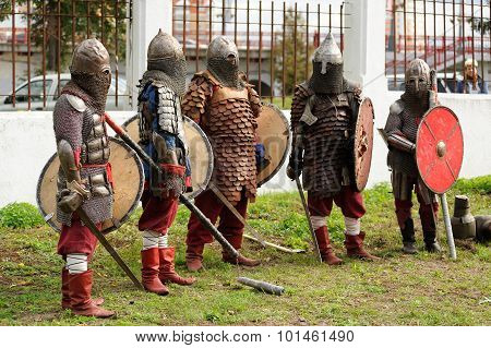 Orel, Russia - September 13, 2015: Orthodox Church Family Day. Knights In Ancient Armour