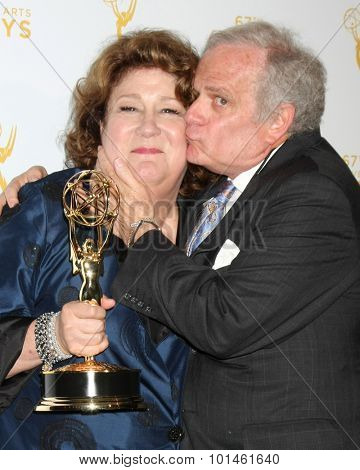 LOS ANGELES - SEP 12:  Margo Martindale, Andrew Freedman at the Primetime Creative Emmy Awards Press Room at the Microsoft Theater on September 12, 2015 in Los Angeles, CA