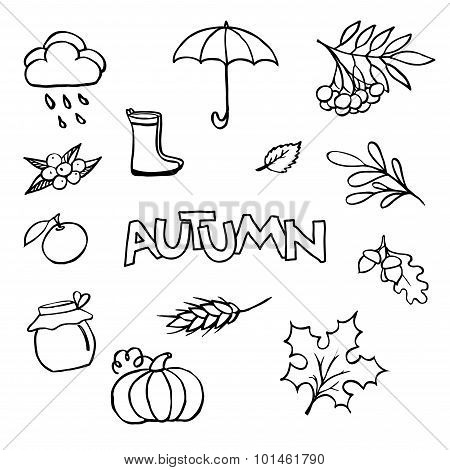 Sketchy Vector Hand Drawn Doodle Cartoon Set Of Objects On The Autumn Theme