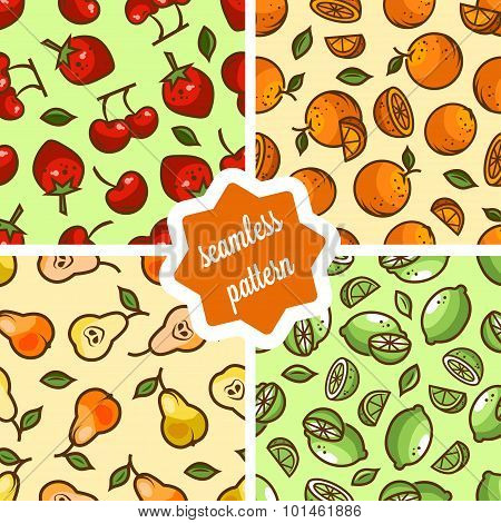 cute fruit patterns set