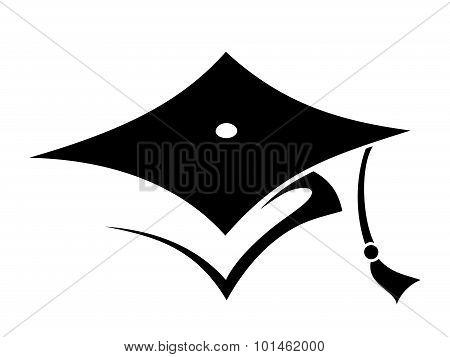 Graduation cap. Vector black silhouette.