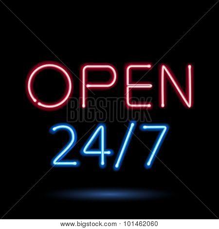 Neon sign open vector illustration.