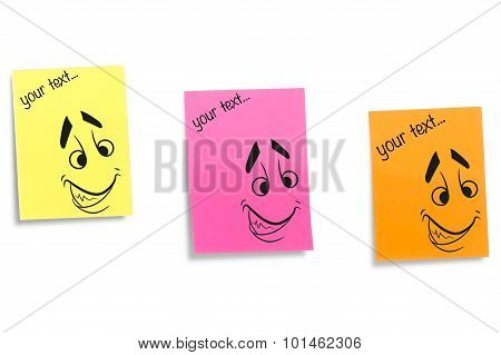 Color stickers displaying face expression