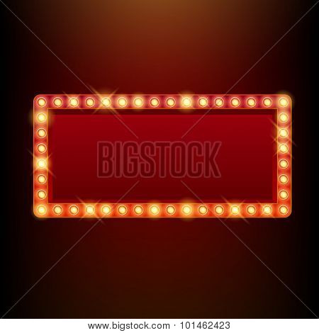 Light bulbs vintage neon glow frame vector illustration.