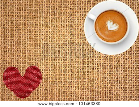 Red Heart And Coffee Cup Over Linen Texture Background