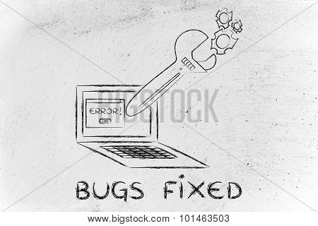 Oversized Wrench Fixing Error Message On Computer Screen