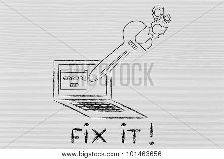 Fix It! Oversized Wrench Repairing A Computer