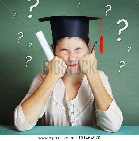 Girl In Graduation Cap Try To Solve Many Difficult Questions