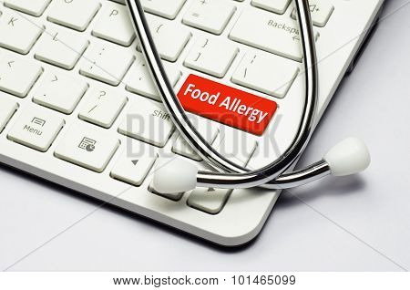 Keyboard, Food Allergy Text And Stethoscope