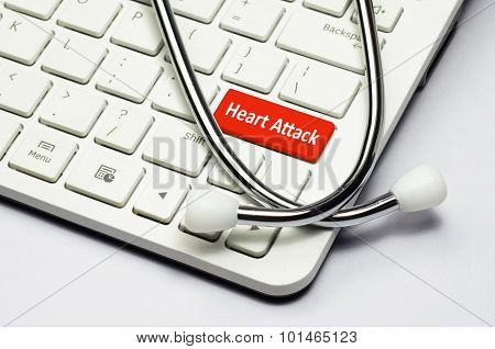 Keyboard, Heart Attack Text And Stethoscope