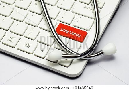 Keyboard, Lung Cancer Text And Stethoscope