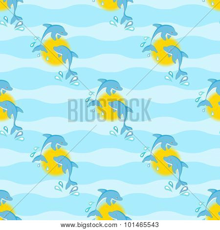 Leaping dolphins against the sun, in a seamless pattern against a wave background.