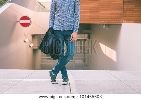 Detail Of A Young Handsome Man Posing In The City Streets