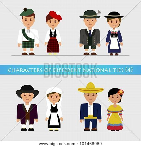 Set characters of different nationalities