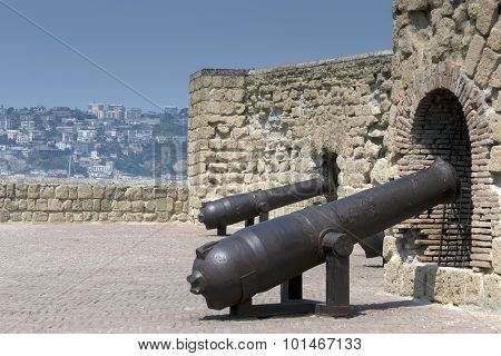 Cannons of the Castel dell'Ovo in Naples, Italy