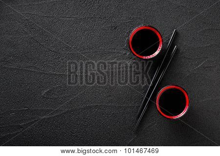 Chopsticks And Bowl With Soy Sauce, Discount Concept