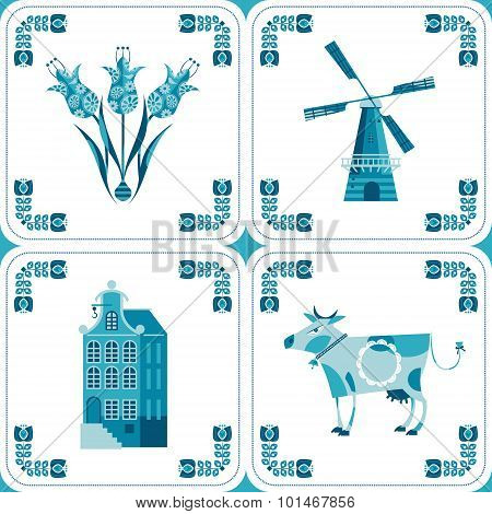Dutch Delft Blue Tiles With Pictures.