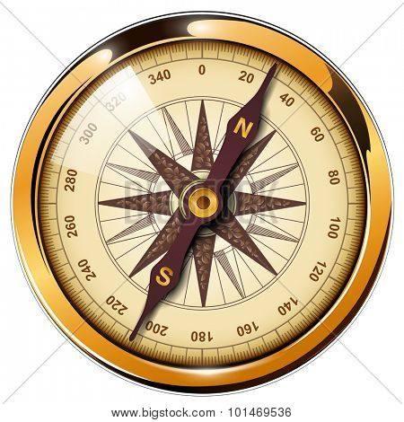 Compass with windrose isolated, retro vector design.