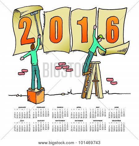 Whimsical drawing 2016 calendar