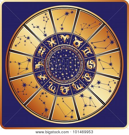Horoscope circle.Zodiac sign,constellations,stars