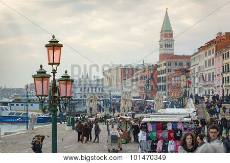 VENICE, ITALY - Jul 5, 2014 Waterfront close to the St. Mark square in Venice.it is the principal public square of Venice, Italy, Which It Is Generally known simply as