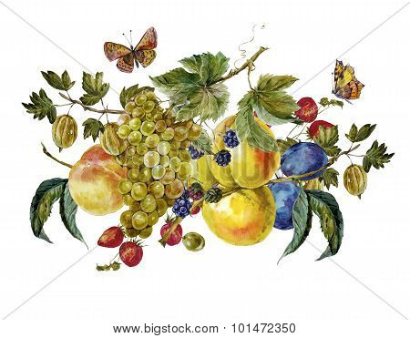 Autumn watercolor vintage card with fruits and butterflies