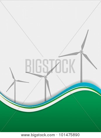 wind turbine on green abstract wave background