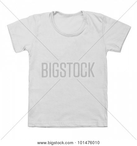 Kid gray tshirt on white background.