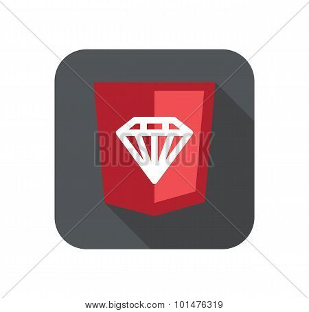 illustration of ruby programming language web development shield sign - diamond. isolated simple fla