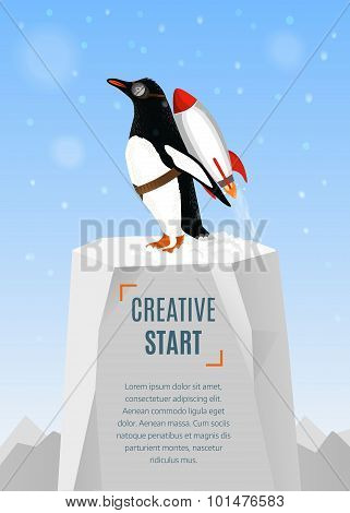 Creative Start And Creative Idea Concept. Penguin Begins To Take Off With The Help Of Rocket. Hand D