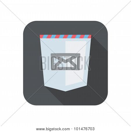 Illustration of web development shield sign with mail icon. isolated on white background