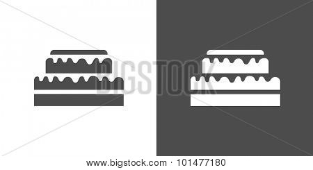 Cake icon. Two-tone version of cake on white and black background