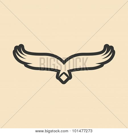 Flat in black and white mobile application wings eagle