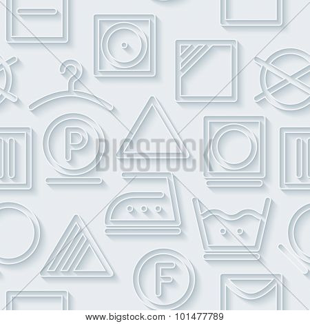 Laundry. White paper with outline extrude effect. Abstract 3d seamless background.