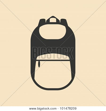 Flat in black and white mobile application backpack