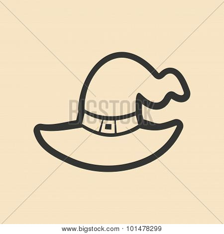 Flat in black and white mobile application Witch's hat