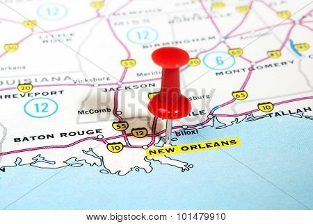 New Orleans  Usa Map
