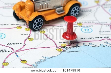 Houston  Usa Map Retro Car