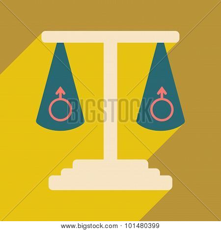 Flat with shadow icon and mobile application same-sex marriage