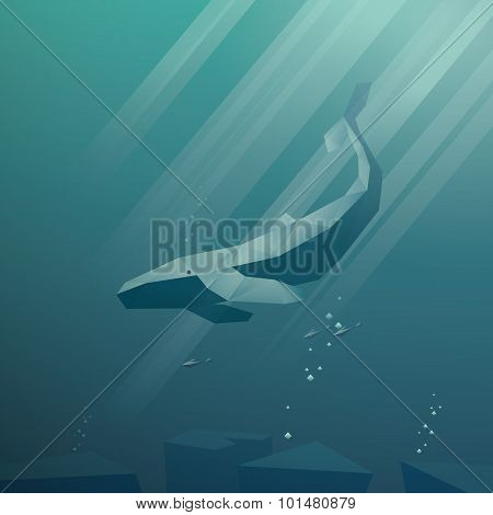 Underwater vector background. Deep blue sea scene. Peaceful and calm wallpaper. Low poly design whal