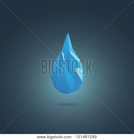 Water drop vector symbol. Low poly design icon. Sign of freshness, suitable for corporate business p