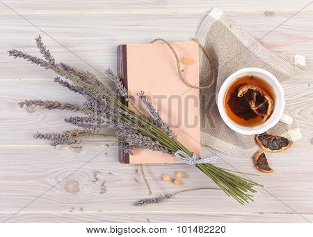 retro book and lavender flowers