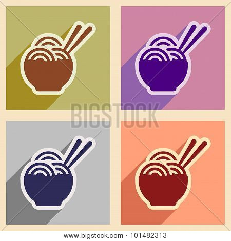 Flat with shadow concept Japanese noodles stylish background