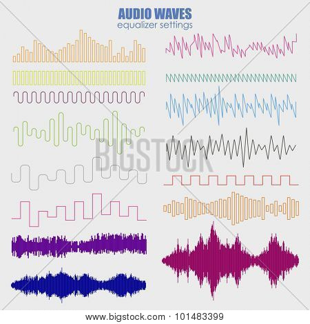 Big set color sound waves . Audio equalizer technology, pulse musical. Vector illustration . Futuristic equalizer waves for the HUD interfaces